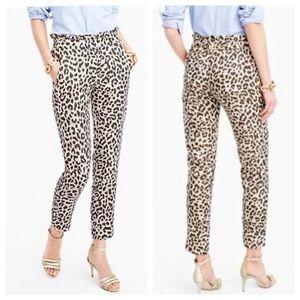 J. Crew Ruffle Waist Linen Pant In Leopard Print